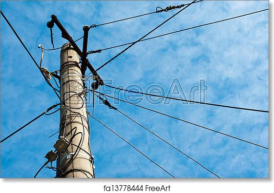Free art print of Electric pole with cables