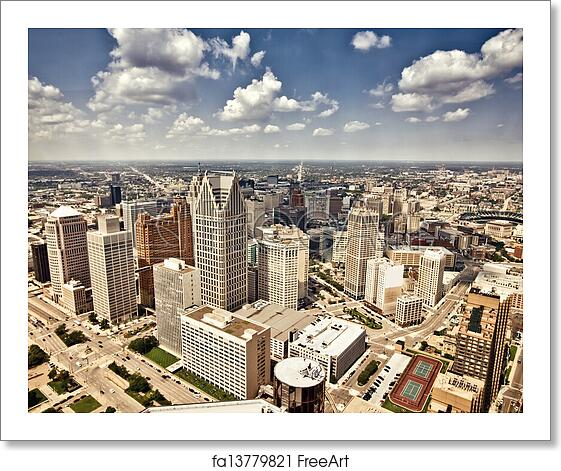 Free Art Print Of Downtown Detroit. Aerial View Of