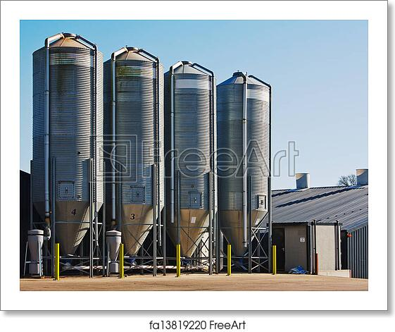 Free art print of Grain storage silos