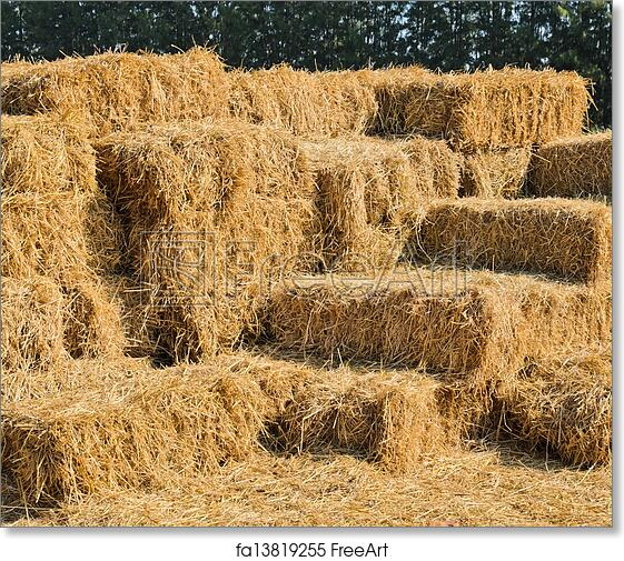 Free Art Print Of Straw Hay Bales Stack Of Straw Hay Bales - Bales