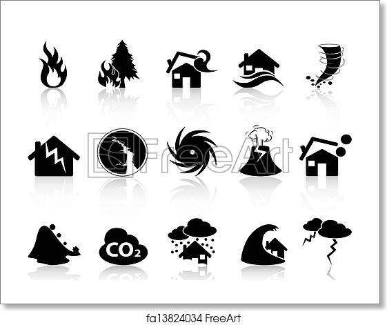Free Art Print Of Natural Disaster Icons Set Isolated