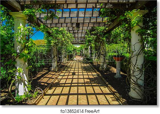 Charmant Free Art Print Of Garden Lattice Walkway With Stone Pavers And Vine Flowers  Throughout The Trellis Work | FreeArt | Fa13852414