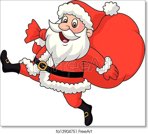 image about Santa Claus Printable Pictures referred to as No cost artwork print of Santa Claus working with the bag of