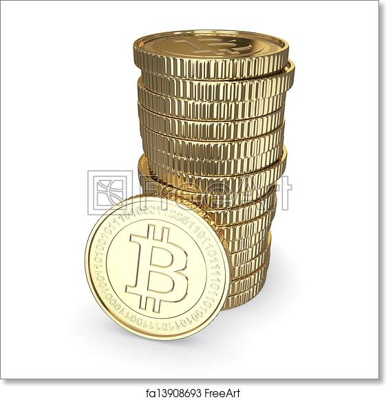 Free art print of Golden Bitcoin cryptography digital currency coins -  isolated with clipping path