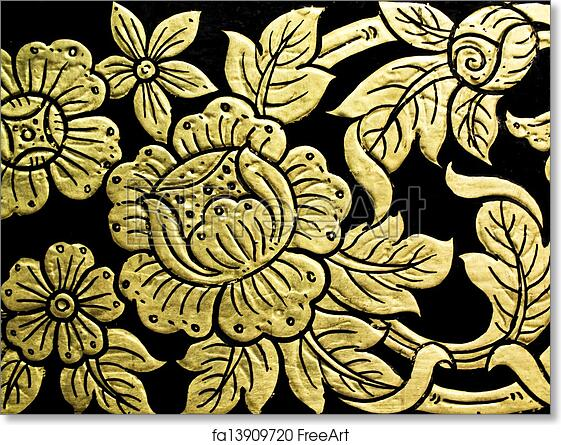 Free Art Print Of Lotus Flower Pattern In Traditional Thai Style Art