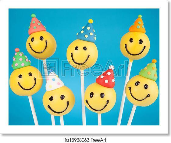 Fabulous Free Art Print Of Birthday Cake Pops Smiley Face Cake Pops Round Funny Birthday Cards Online Unhofree Goldxyz