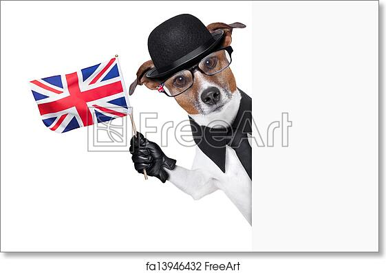 da2a870099c6a Free art print of British dog banner. British dog with black bowler hat and black  suit waving a flag