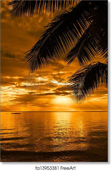 Free Art Print Of Palm Trees Silhouette On A Beautiful Beach At Sunset