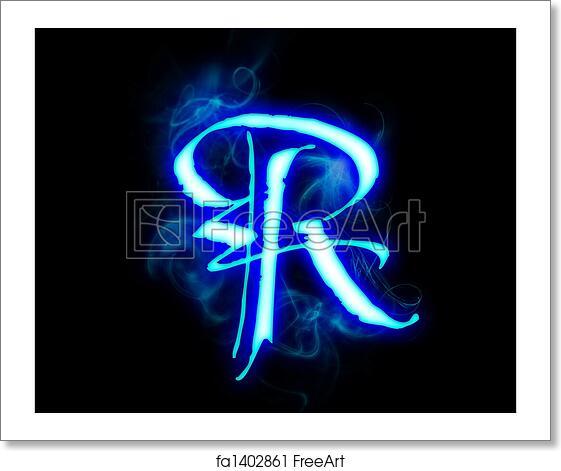 Free art print of Blue flame magic font over black background  Letter R