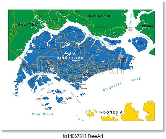 Free Art Print Of Singapore Map Highly Detailed Vector Map Of - Singapore map vector