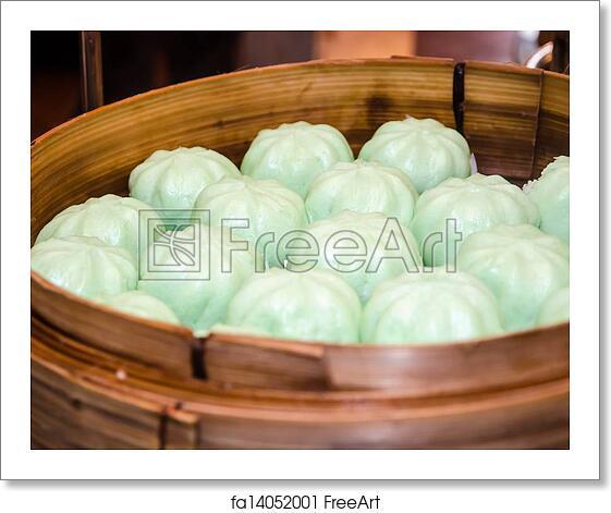 free art print of steamed bun steamed bun in a bamboo steamer