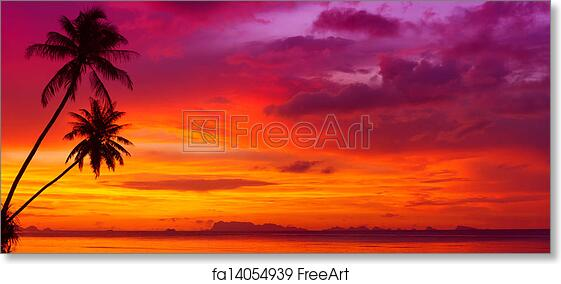 Free Art Print Of Sunset Over The Ocean With Tropical Palm Trees Silhouette Panorama