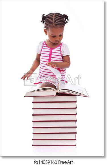 Free Art Print Of Cute Black African American Little Girl Reading A Book Isolated On White Background African People Children