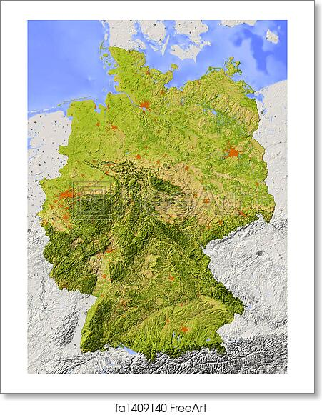 Map Of Germany To Print.Free Art Print Of Shaded Relief Map Of Germany