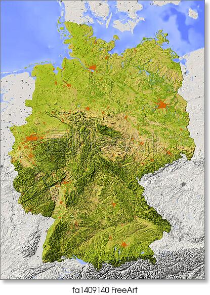 Elevation Map Of Germany.Free Art Print Of Shaded Relief Map Of Germany Germany Shaded