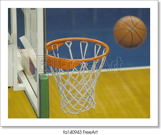 free art print of almost basket ball going inside the basket