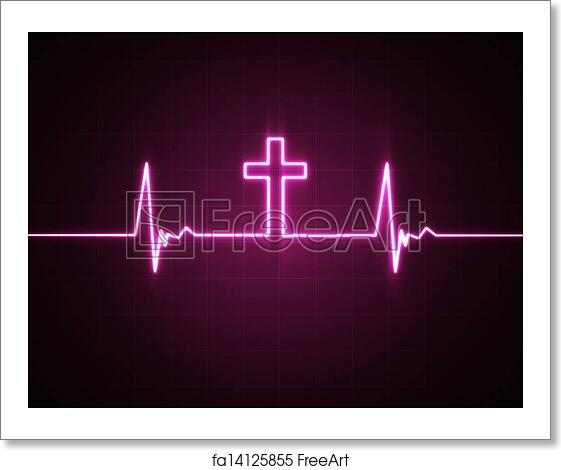 free art print of heart monitor with cross a heart rate monitor