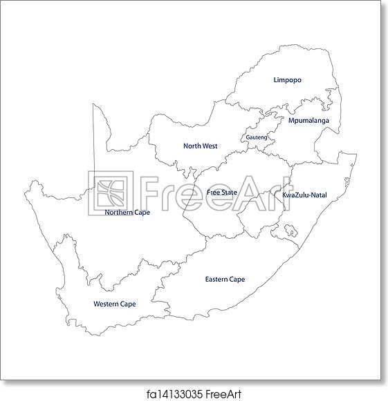 Free art print of Outline South Africa map. South Africa map ...