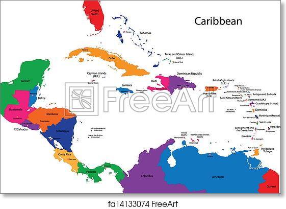 picture regarding Printable Map of the Caribbean titled Absolutely free artwork print of Caribbean map