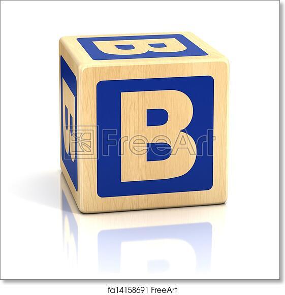Free art print of Letter b alphabet cubes font Preschool block