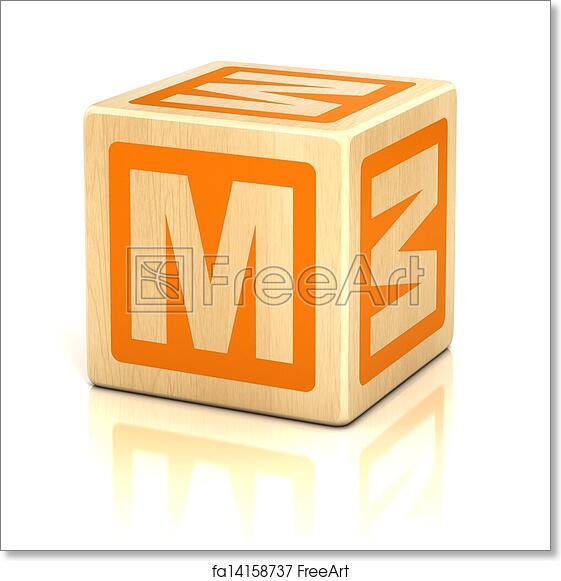 Free art print of Letter m alphabet cubes font Cube preschool
