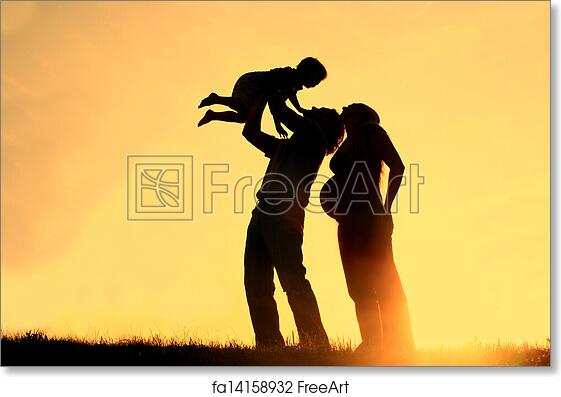 Free art print of Family Silhouette Sunset