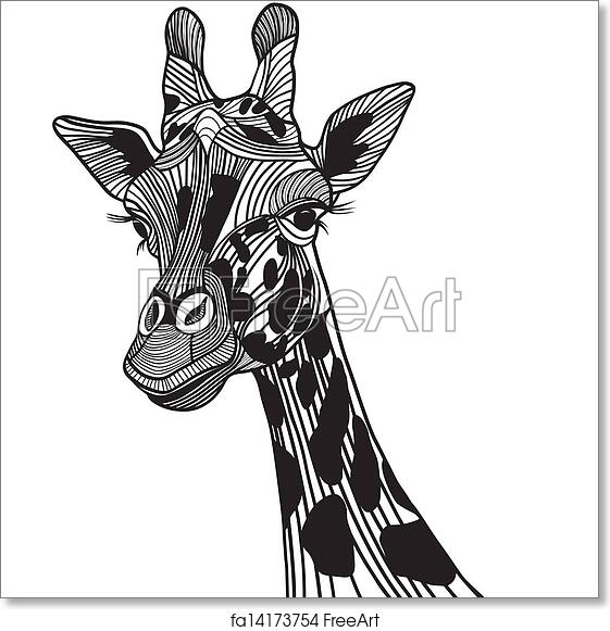 Free Art Print Of Giraffe Head Vector Animal Illustration For T