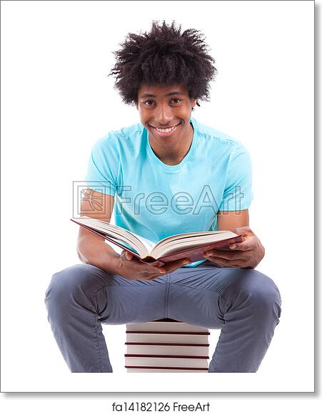 Free Art Print Of Young Black Teenage Student Men Reading A Books Isolated On White Background African People