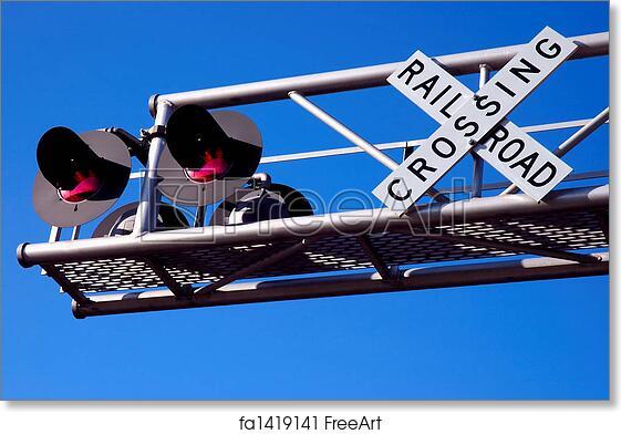 Free art print of Overhead Railroad Crossing Signal