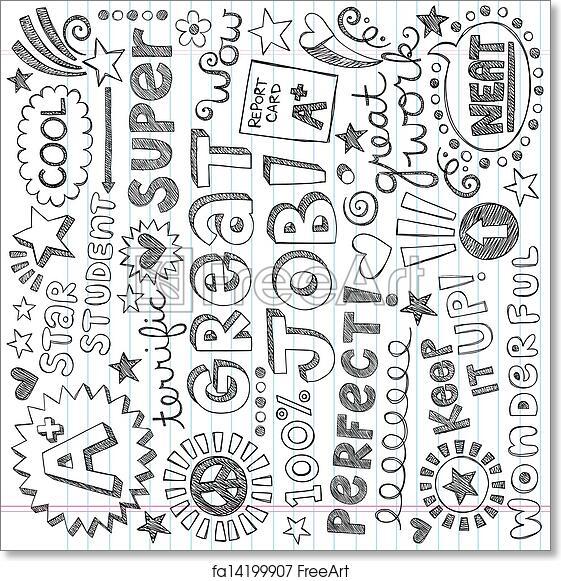 Free art print of Priase Encouragement Words Doodles