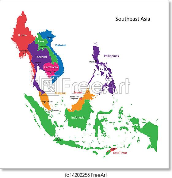 Free art print of Southeastern Asia map Color Map Of Asia on beijing map asia, color map south america, color map australia, color us map, world clock asia, pyramids of asia, color europe map, north asia, color map united states, shape of asia, compass of asia, color map africa, world map asia, citytime zone map asia, educational maps of asia, coloring pages of animals in asia, color map egypt,