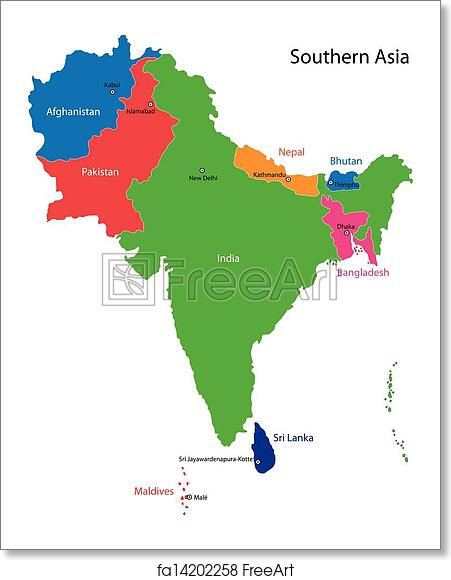 Free art print of southern asia map color map of southern asia free art print of southern asia map sciox Choice Image
