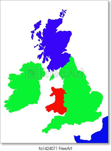 Free Art Print Of Outline Map Of United Kingdom And France Colorful