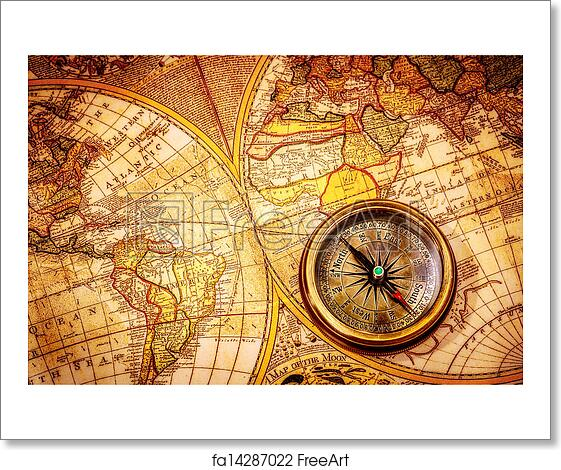 Free Art Print Of Vintage Compass Lies On An Ancient World Map