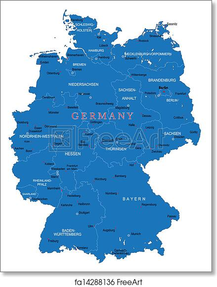 Map Of Germany To Print.Free Art Print Of Germany Map