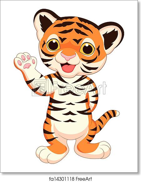 Free Art Print Of Cute Baby Tiger Cartoon Waving