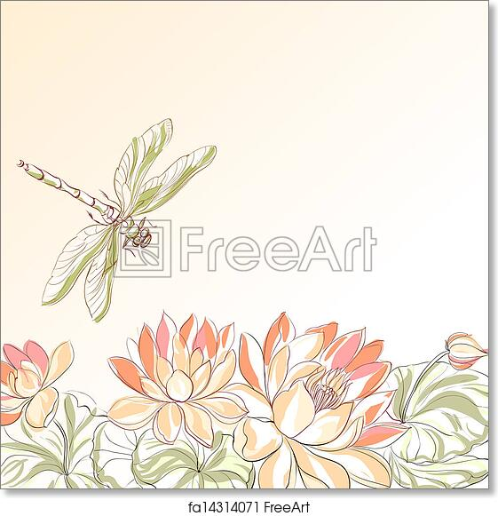 Free Art Print Of Lotus Flower And Dragonfly Freeart Fa14314071