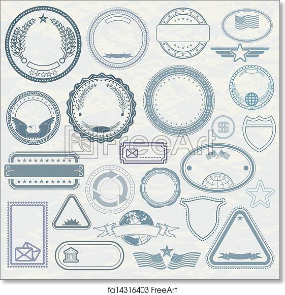 free art print of empty template of rubber stamps empty template of