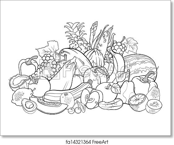 Free Art Print Of Fruits And Vegetables For Coloring Book