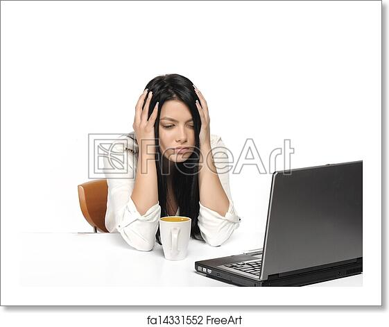 free art print of bored business woman working on laptop looking