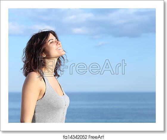 Happy Beautiful Natural Emotion Woman Joying On Blue Sea: Free Art Print Of Beautiful Girl Breathing And Smiling On
