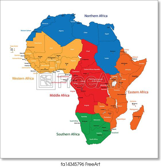 Free art print of Africa map. Colorful regions of Africa with
