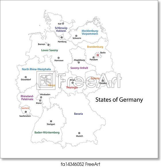 Regions Of Germany Map.Free Art Print Of Outline Germany Map Outline Germany Map With