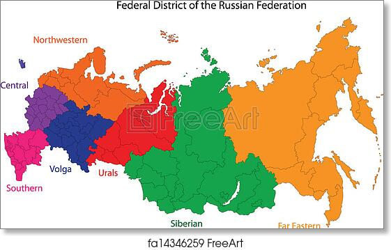 Free art print of Russia map Administrative division of the