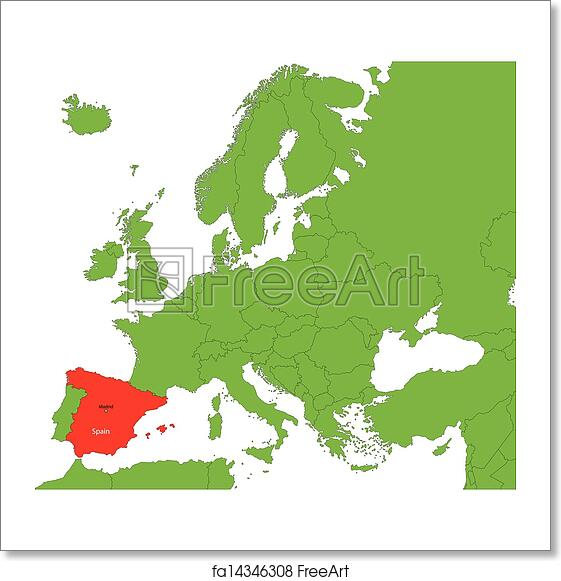 Spain On A Map Of Europe.Free Art Print Of Spain Map