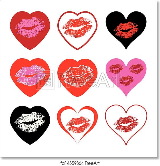 Free Art Print Of Vector Heart Symbols Set With Kiss Vector Heart