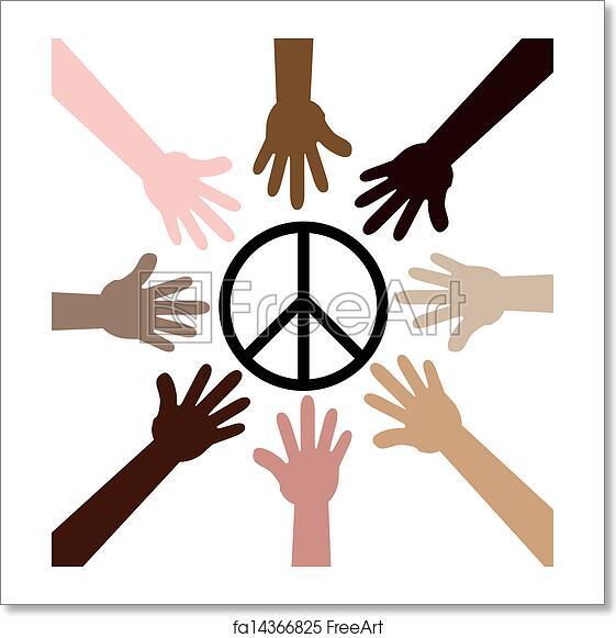 Free Art Print Of Hands Around Peace Symbol Illustrated