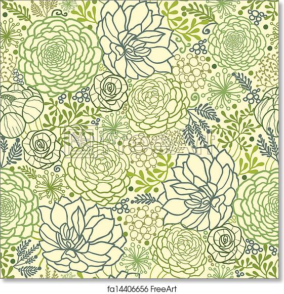 Free Art Print Of Green Succulent Plants Seamless Pattern Background Adorable Green Pattern Background