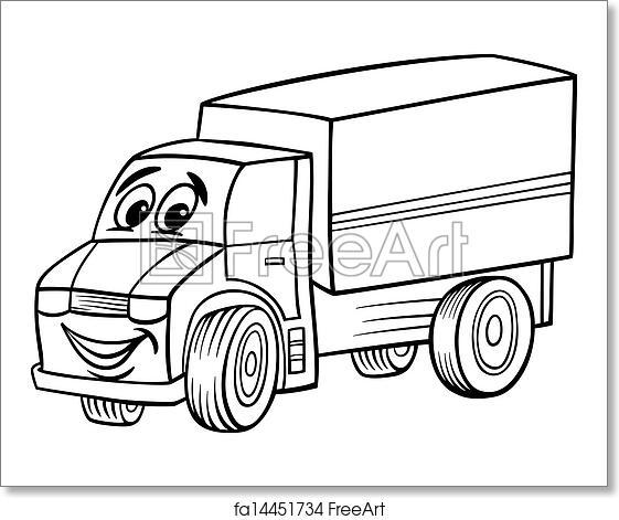 Free art print of Funny truck cartoon for coloring book
