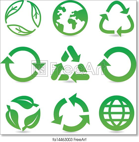 photograph relating to Recycle Sign Printable identified as Totally free artwork print of Vector range with recycle indicators and symbols